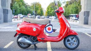 Red Vespa 50cc engine